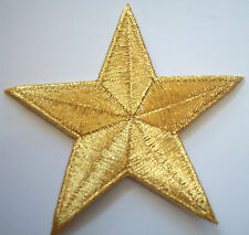 METALLIC GOLD 3 inch iron on star patch applique kid sparkly embellishment -135