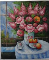 Pink Floral Bouquet Original Hand Signed Oil Painting on Canvas 20 x 24 In.
