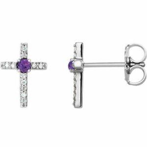 Amethyst & .06CT Diamond Cross Earrings In Platinum
