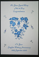 HANDMADE PERSONALISED SAPPHIRE WEDDING 45th ANNIVERSARY CARD HEART