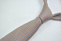HERMES PARIS 5437 FA Tie 100% Silk HERMES Pattern Blue/Orange Color L63 W3.9