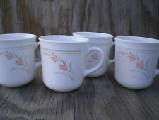 Corelle Dishes Peach Garland Grey Bands & Peach Flowers On White Cups Set Of 4