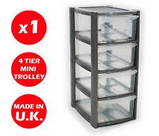 4 cassetto Silver Tower Unità!!! in plastica cassetti Organizer Storage!!!!!!
