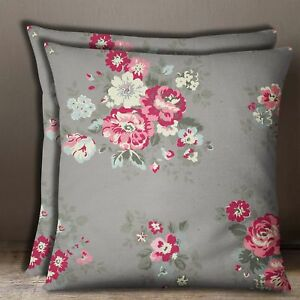 Square Floral Gray Home Décor Cushion Cover Cotton Poplin Pillow Case 1 Pair