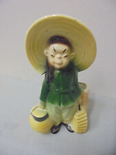 "Royal Copley Pottery Planter, Asia Boy, Lanterns, Straw Hat, 7.5"" Tall Vintage"