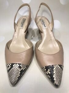 L.K.Bennett Nude Leather Sling Back Shoes With Leather Snakeskin Tips 38 / 5