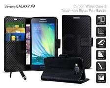 Samsung Galaxy A3 (2015) SM-A300FU - Carbon Fibre Style Wallet Case & Mini Pen