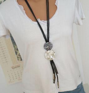 Bettelkette Statement Halskette Modeschmuck Silber Schwarz  Lang Grau