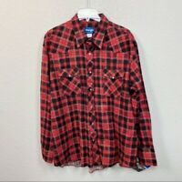 Wrangler Plaid Flannel Pearl Snap Button Up Shirt Mens XXL New Old Stock