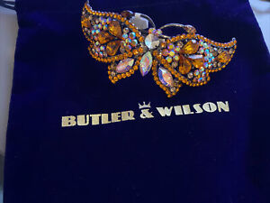 Butler & Wilson Hair Barrette Orange And Clear Crystal Butterfly New