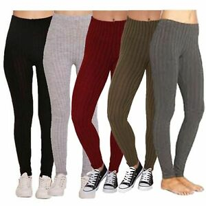 Women Ladies Leggings Ribbed Cable Thick Chunky Knitted Warm Plain Full Legging