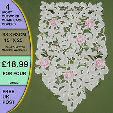 4 New Ivory Cutwork Point Rose Embroidered Chair Backs Covers Antimacassar M4074
