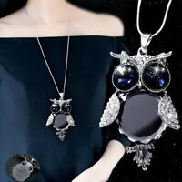 Owl Crystal sweater chain Gift Pendant Long Rhinestone Tassel Fur Necklace Women