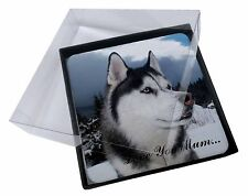 4x Siberian Husky 'Love You Mum' Picture Table Coasters Set in Gift , AD-H52lymC