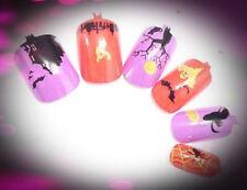12er Halloween Airbrush Nails Künstliche Fingernägel Horror Motive HTT-11