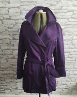 Hobbs Purple Double Breasted Belted Classic Trench Coat Size 10 uk