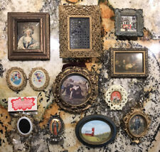 Vintage Lot Of Miniature Picture Frames With Portraits & Paintings Gold Ornate