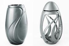 "Exclusives Grabset ""Verbena"" silber matt Grablampe/ Grabvase/ Grablaterne/ Vase"
