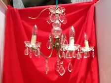 Stunning Vintage French Crystal & Brass 5 Branch Chandelier ,36 Tear drops