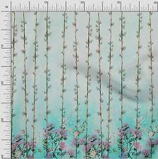 oneOone Organic Cotton Poplin Twill Fabric Leaves & Flower Panel-IpU