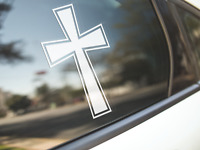 Cross Religious Sticker Car Bumper Decal Christian Jesus God Religion Crucifix