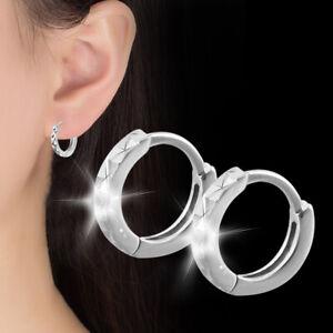 Klappcreolen Ohrringe Creolen Gemeißelt echt Sterling Silber 925 Damen Creolen