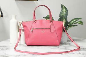 Coach 79997 Prairie Fuchsia Pink Pebbled Leather Satchel Crossbody Handbag Purse