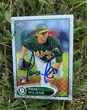 Tom Milone A'S 2012 Topps Chrome Xfractor Auto Signed Baseball Card #169