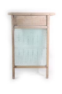 altes Waschbrett Rubbelbrett Glas Holz Marke Stahlglas vintage