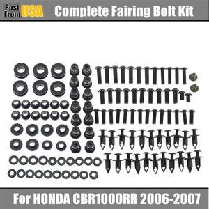US Complete Black Fairing Bolts Kit body screws For Honda CBR1000RR 2006-2007