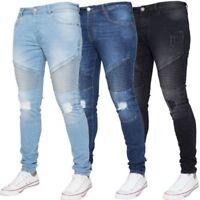 Enzo Hommes Déchiré Motard Jeans Super Skinny Slim Fit Extensible Pantalon