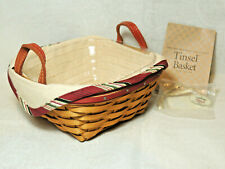 New ListingLongaberger 2005 Tinsel Tree Trimming Basket Combo with Liner Protector Tie-On