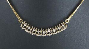 $6,200 18K Yellow Gold 1.00ct 36 Round G VS1 Diamond 22K Chain Necklace 17''