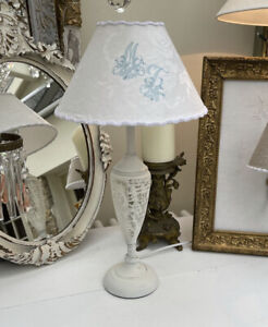 Lamp Base Shabby Chic Hand Painted White Distressed comes with Lampshade