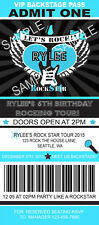 ROCK STAR TICKET Birthday Party Invitations Blue Custom Personalized + envelopes