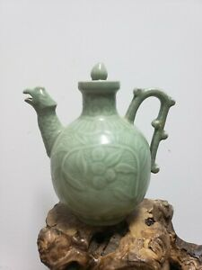 Chinese Celadon Green Porcelain  Wine Pot Tea Pot {Pheonix}