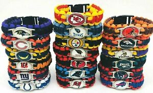 "🏈 🏈 🏈 ALL NFL TEAMS EMERGENCY PARACORD SURVIVAL BRACELET 9""  🏈 🏈 🏈"