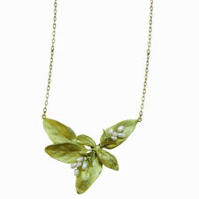 SWEET BASIL LEAF & PEARL NECKLACE BY MICHAEL MICHAUD FOR SILVER SEASONS 8959BZWP