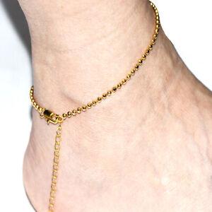 "Beaded Ankelts For Women Girl Summer Jewelry Bohemia Foot Bracelet Gold 10"""
