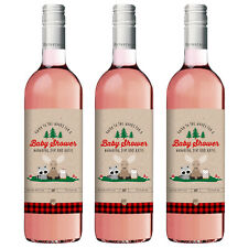 8 Lumberjack Woodland Forest Animals Baby Shower Favors Personalized Wine Labels