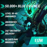 League of Legends LoL EUW Account 50000 59000 BE IP Smurf Unranked 30+ level PC