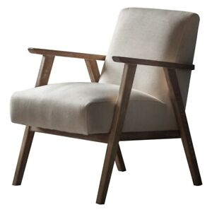 Neyland Armchair in Natural Linen fabric with timber frame OCCASIONAL ARMCHAIR