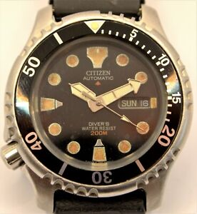 CITIZEN PROMASTER Scuba Divers 200M Automatic Mens Watch 8203-824393 c1990 LEFTY