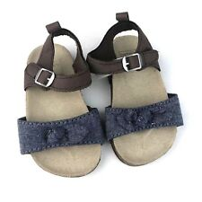 f65f4fa72 Carter s Baby Girl 6-9 Months 4 Cork Footbed Sandals Brown Blue Chambray Bow