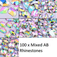 Grade A 100 x Sew On Stitch clear AB mixed shape GEM CRYSTAL RHINESTONE TRIM UK