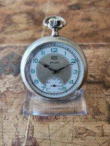 schöne 800 Silber Tavannes Watch Taschenuhr mit Ruhla Zifferblatt