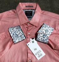 denim & flower Salmon Pink Button Long Sleeve Dress Casual Work Shirt Men Medium