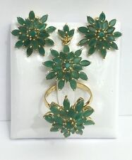 14k Solid Gold Cluster Star Set Earrings Ring Pendant, Natural Emerald 12TCW