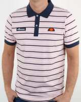Ellesse Kadera Striped Polo Shirt in Pink & Navy  short sleeve retro tennis SALE