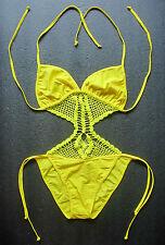 Crochet SWIMMING COSTUME Bright Neon Yellow One Piece Swimsuit Swimwear Suit